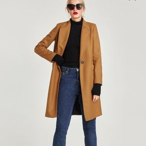 Zara wool blend camel colored coat New with tags